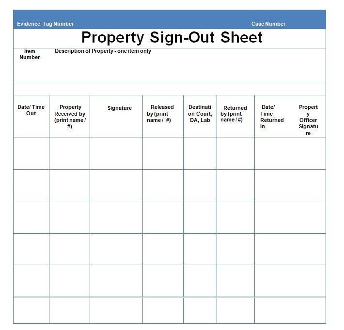 Property Sign Out Sheet PDF Template