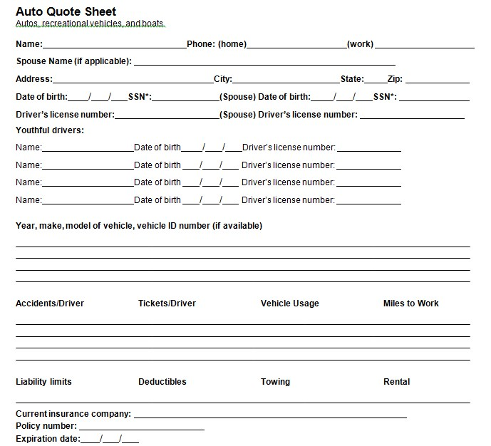 Quote Sheet Template PDF Free Download