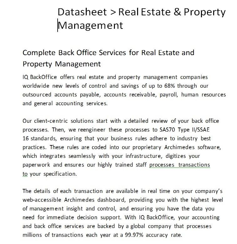Real Estate and Property Management Datasheet