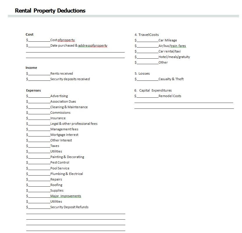 Rental Property Deduction Worksheet Template