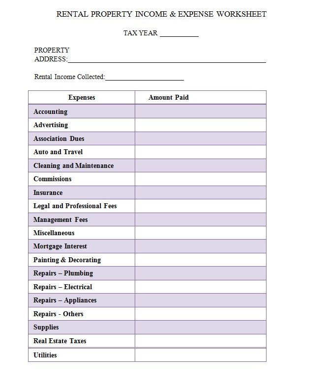 Rental Property Income and Expense Worksheet Example