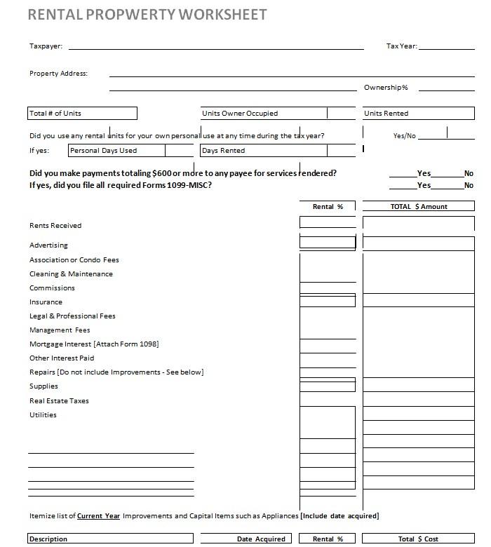 Rental Property Worksheet Template in PDF