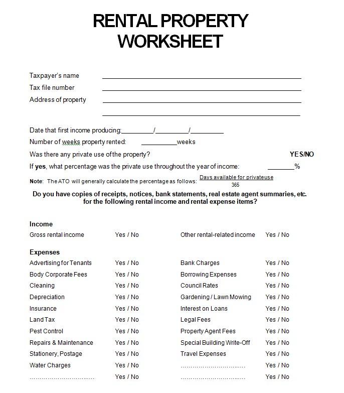 Rental Property Worksheet mat
