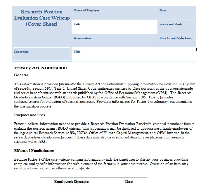 Research Privacy Act Cover Sheet