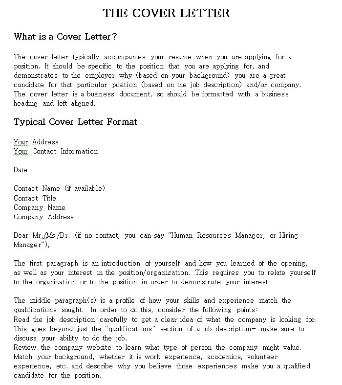 Resume Cover Letter Checklist
