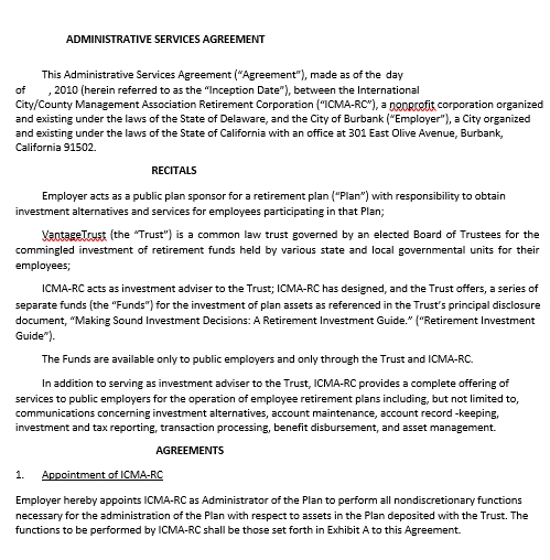 Retirement Plan Administrative Services Agreement Template