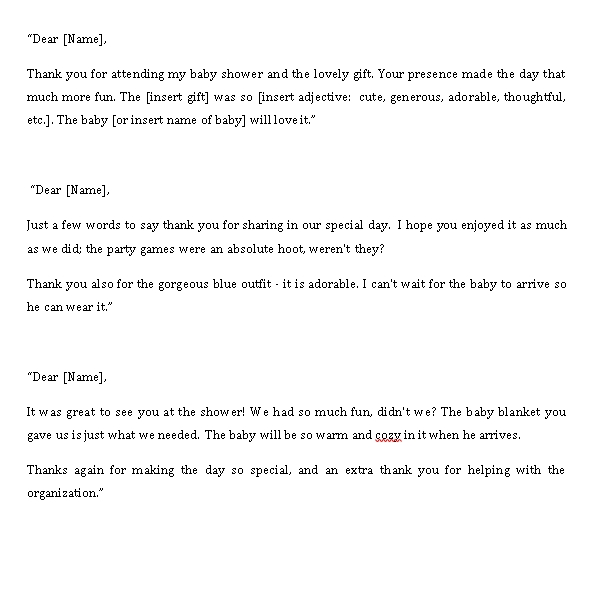 Sample Template baby shower thank you notes to coworkers