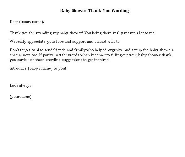 Sample Template baby shower thank you notes wording