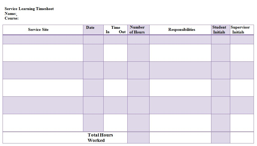 Service Learning Time Sheet Template