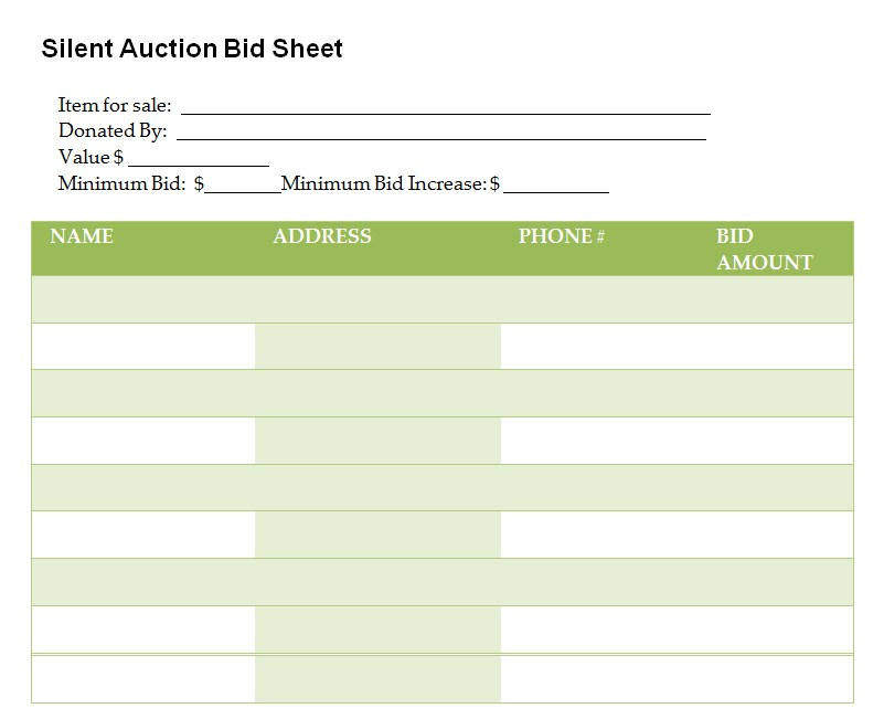 Silent Auction Bid Sheet PDF mat