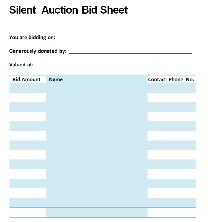 Silent Auction Bid Sheet Template Pdf