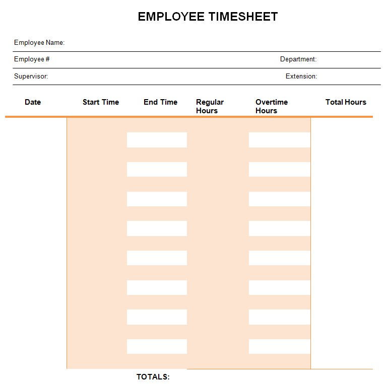 Simple Monthly Timesheet PDF Template