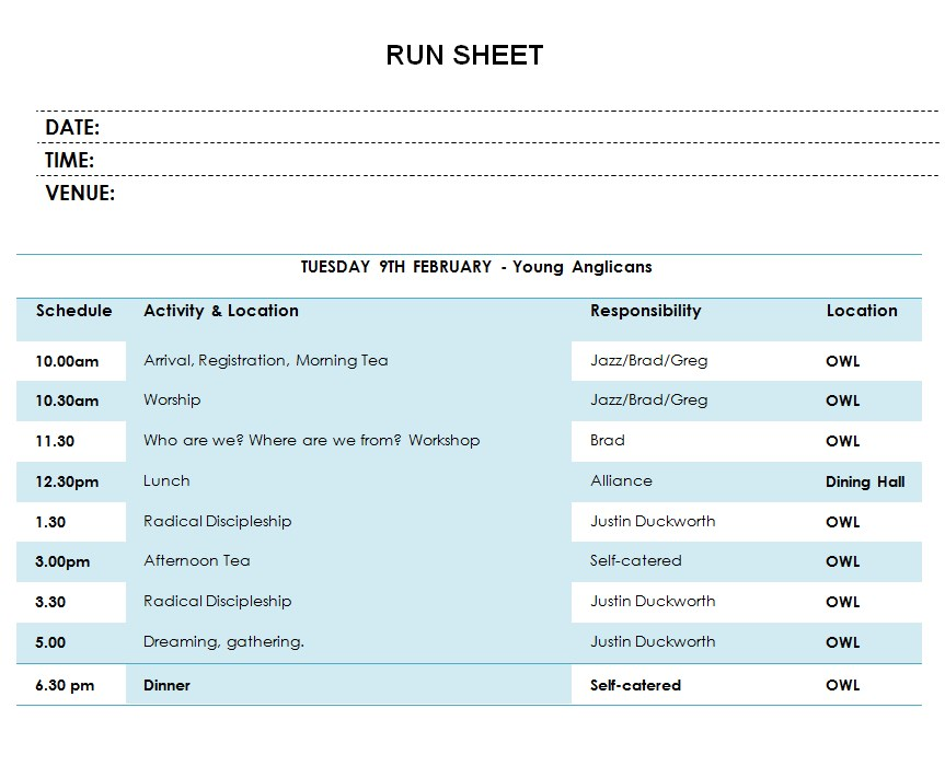 Simple Run Sheet Template
