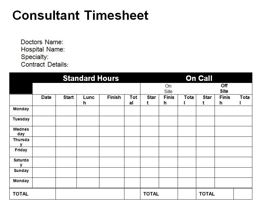 Small Business Consultant Time Sheet