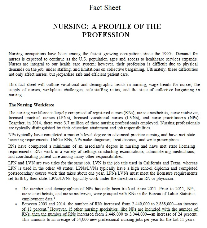 Standard Nursing Fact Sheet Template