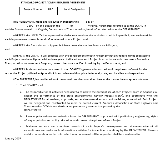 Standard Project Administration Agreement