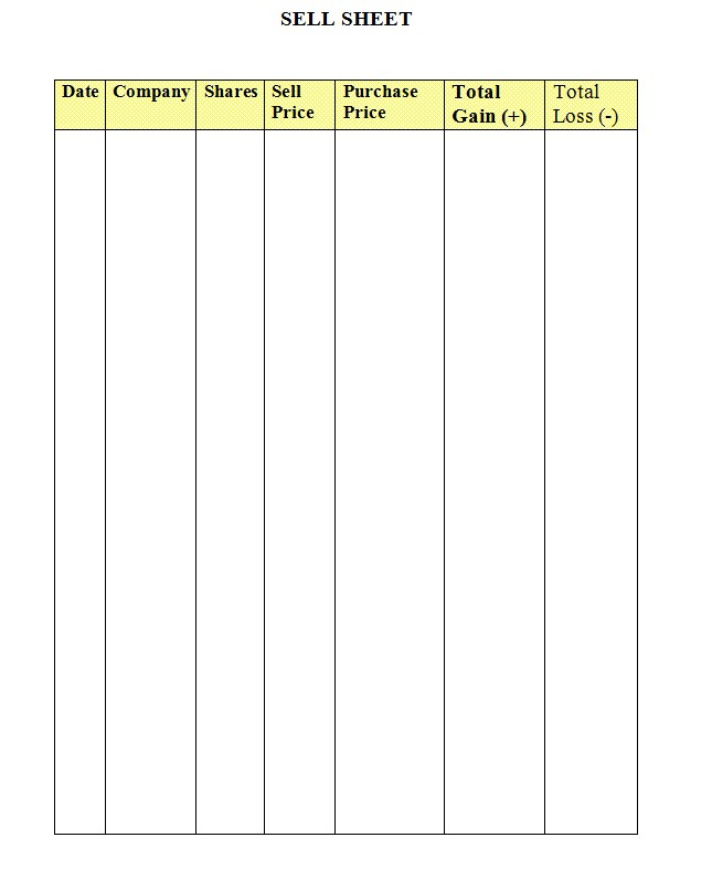 Stock Market Game Sell Sheet Word Template