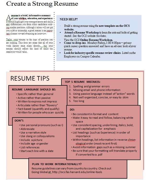 Strong Resume Cover Sheet