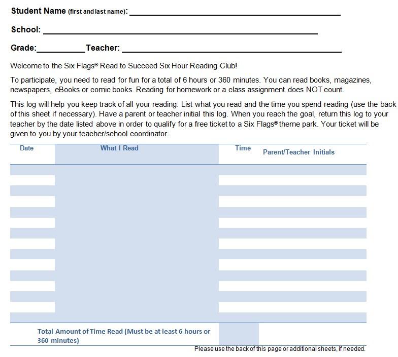 Student Reading Log Sheet