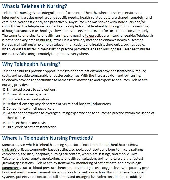 Telehealth Nursing Fact Sheet Template