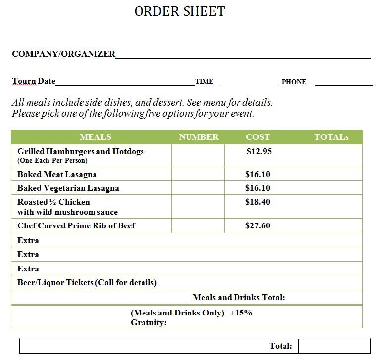 Tournament Food Order Sheet Template