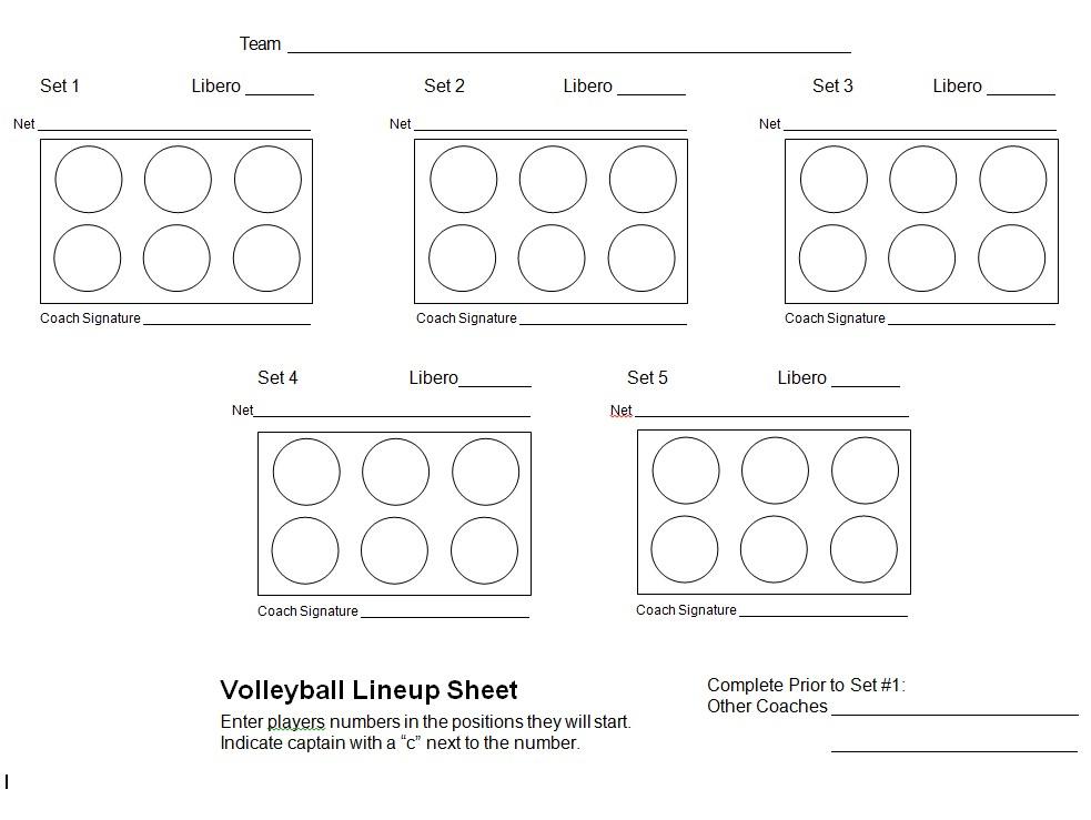 Volleyball Lineup Sheet PDF