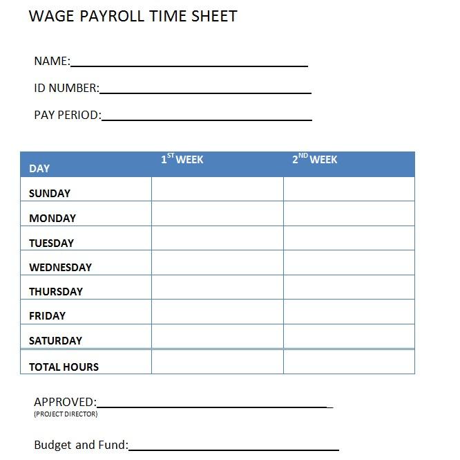 Wage Payroll Timesheet Template