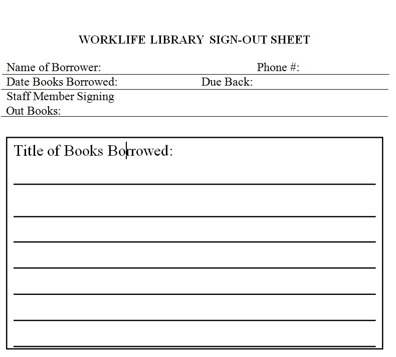 WorkLife Library Sign Out SheetPDF Template