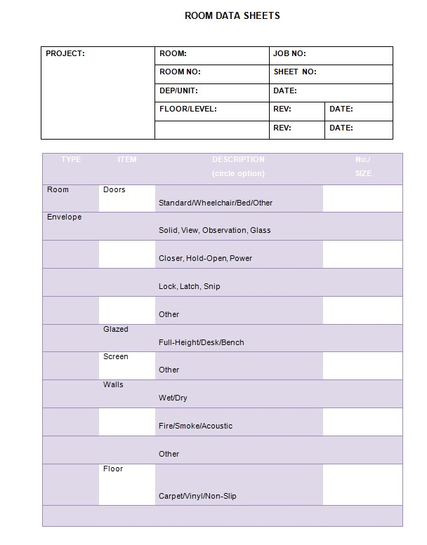 sample room data sheet templateA