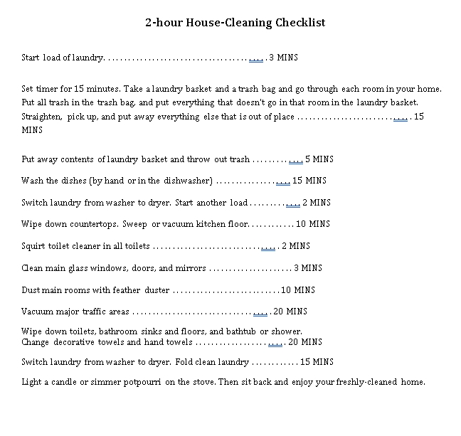 2 Hour House Cleaning Checklist Template