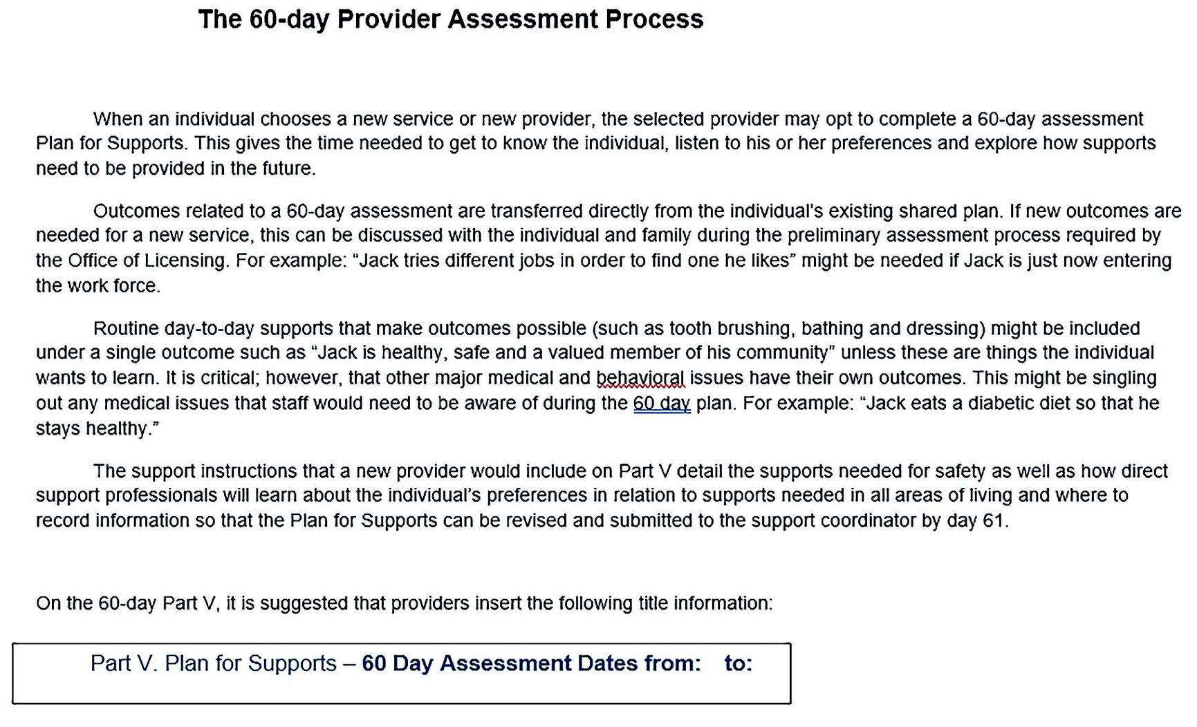 60 Day Diet Assessment Plan Process