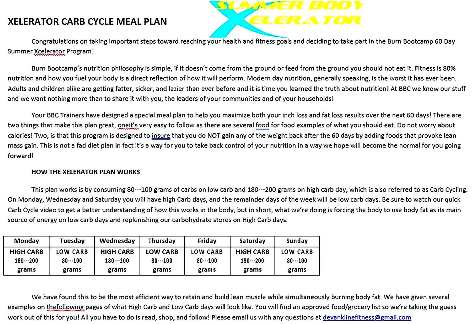60 Day Workout Plan Example