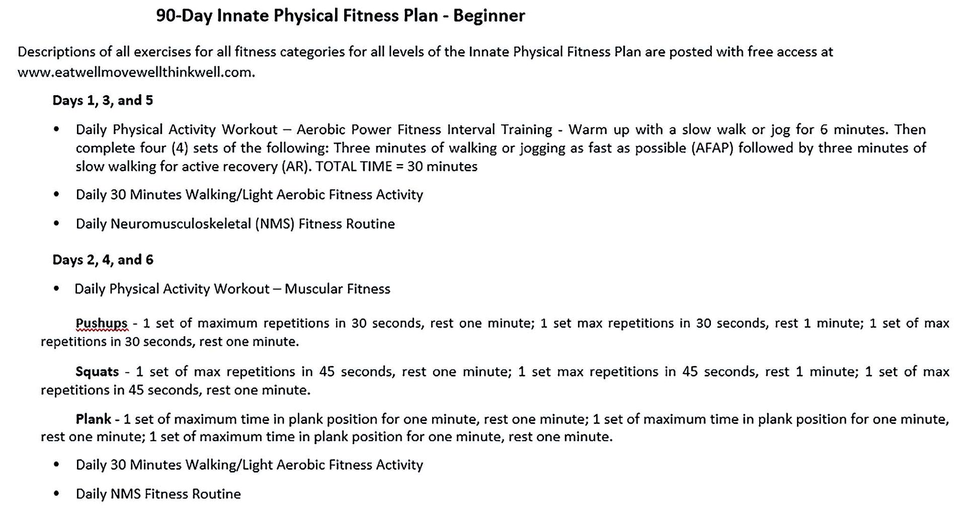 90 Day Innate Physical Fitness Plan