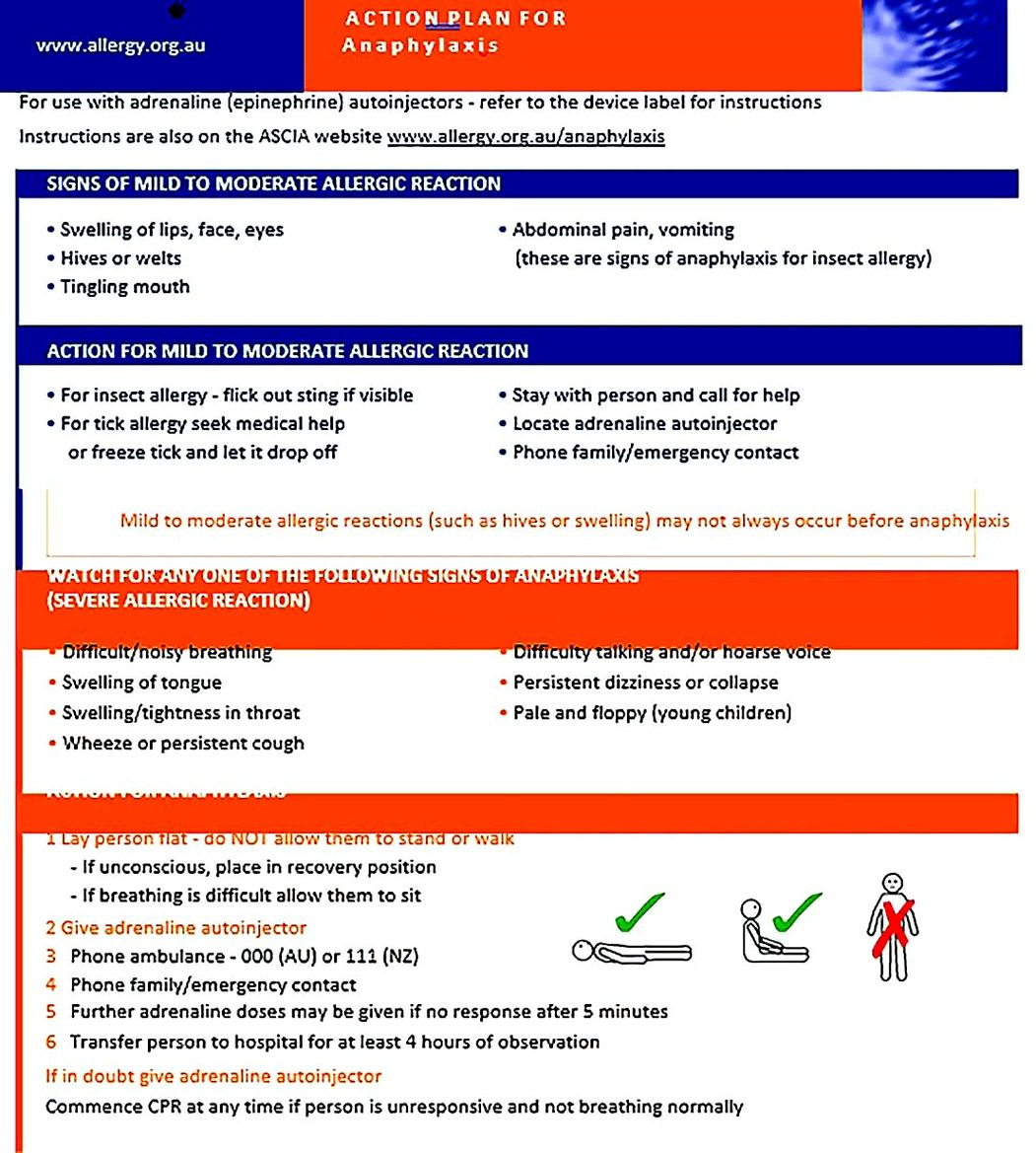 ASCIA Action Plan Anaphylaxis Generic Orange