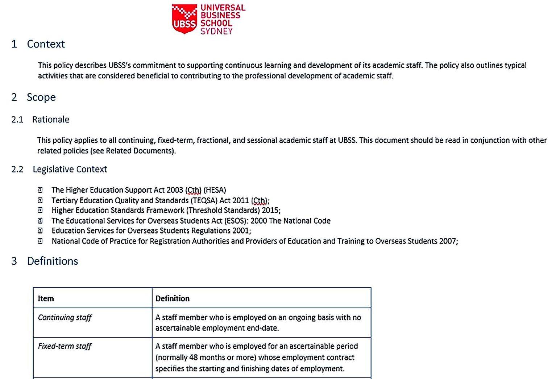Academic Staff Development Policy