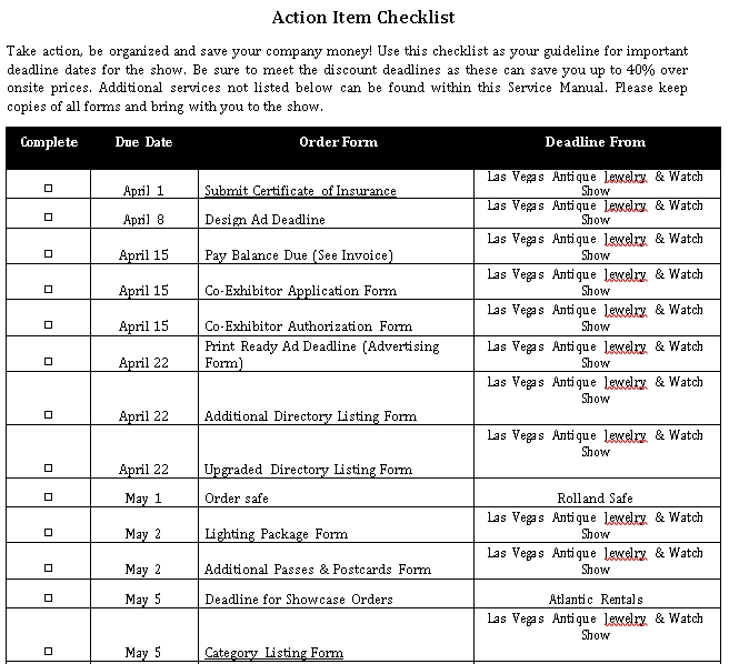 Action Item Checklist Template