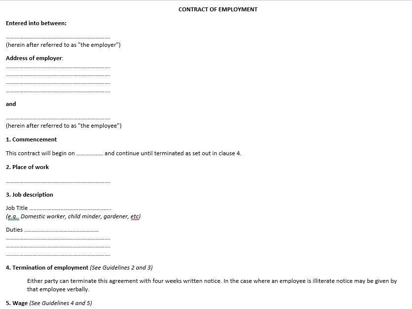 Agreement Between Employer and Employee Agreement
