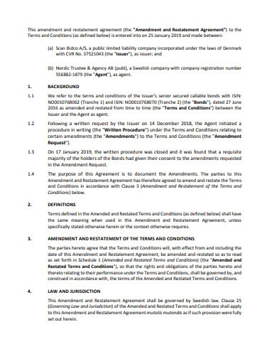 Amendment anad Restatement Agreement Template