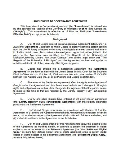 Amendment to Cooperative Agreement