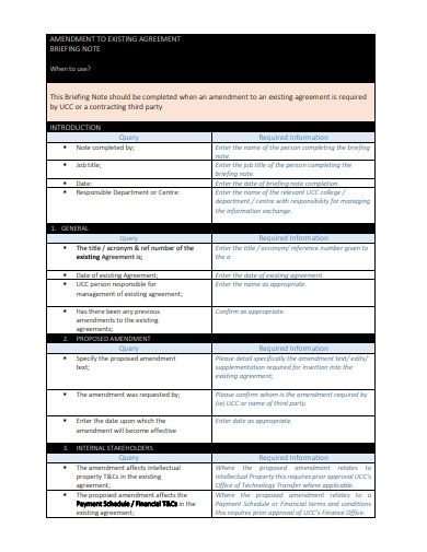 Amendment to Existing Agreement Template