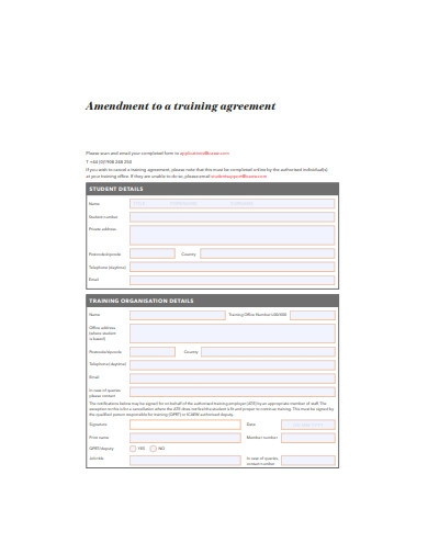 Amendment to a Training Agreement Template