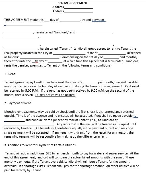 Apartment Basic Rental Agreement Template