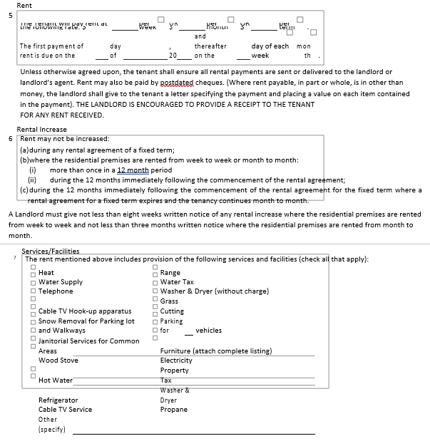 Apartment Rental Agreement Form