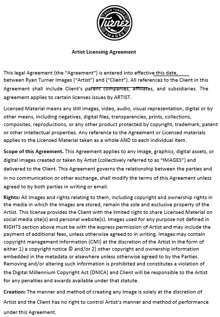 Artist Licensing Agreement Template