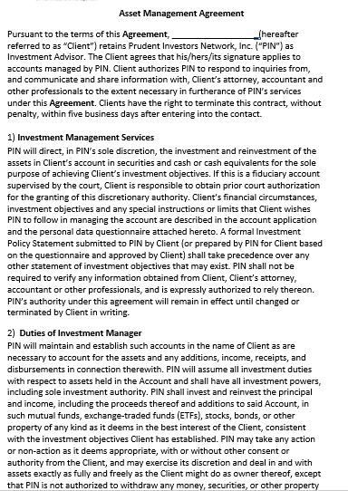 Asset Management Agreement