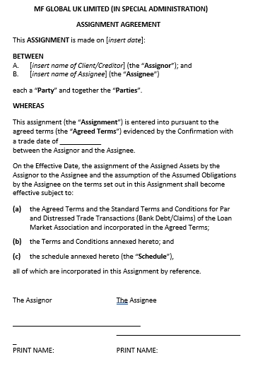 Assignment Agreement of Debt