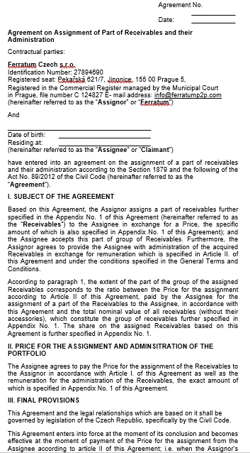 Assignment of Receivables Agreement