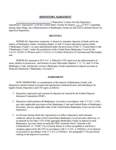 Authorise Depository Agreement Template