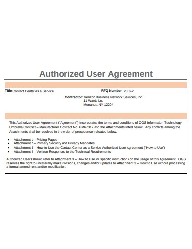 Authorised Agreement Template