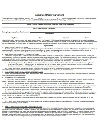 Authorised Dealer Agreement Template